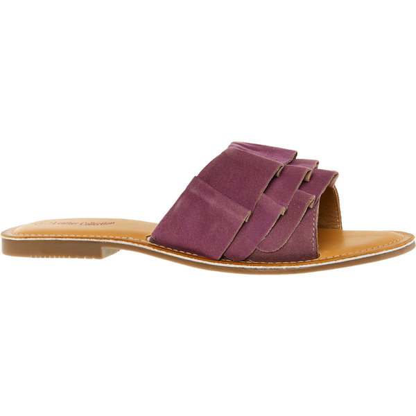 Purple Ruffle Suede Sandals
