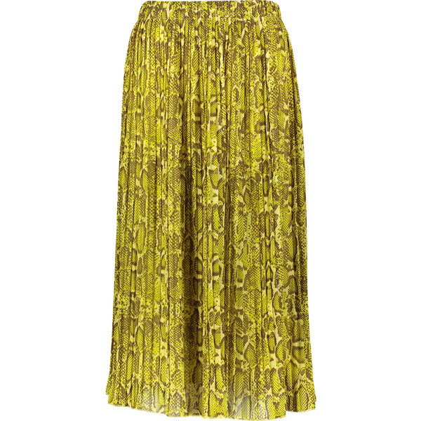 Yellow Reptile Print Pleated Skirt