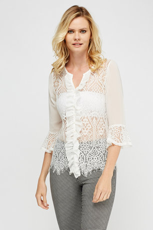 Mesh Contrast Frilled Top