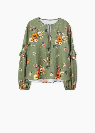 Green Floral Blouse